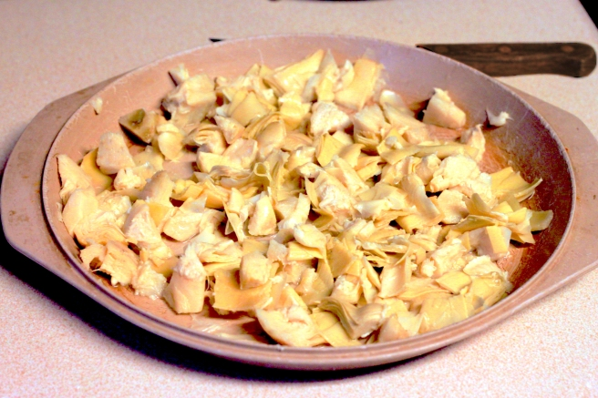 The diced & drained artichokes.