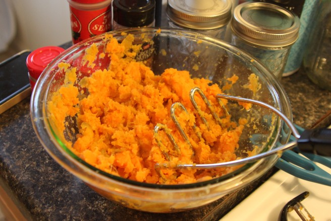 Smashing the sweet potatoes...