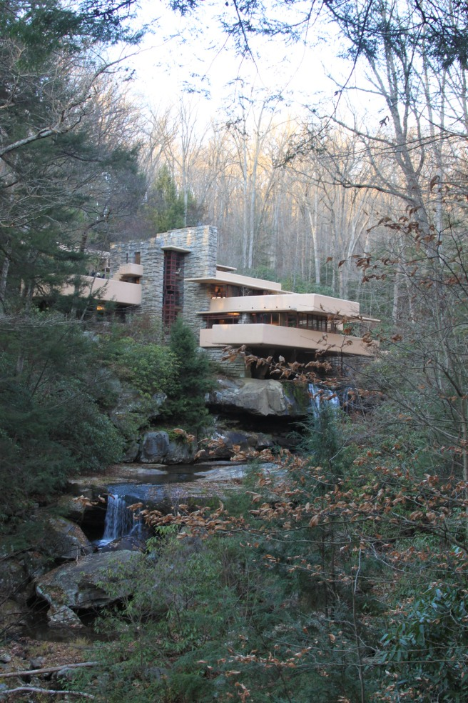 Fallingwater from the viewing spot where the Kaufmann's originally throughout their house would be built.